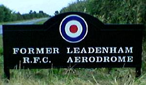 commemorative sign for Former Leadenham RFC aerodrome