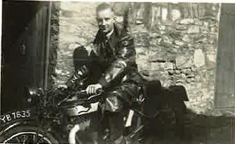 picture of Colin Richards on his Norton motor bike in 1936