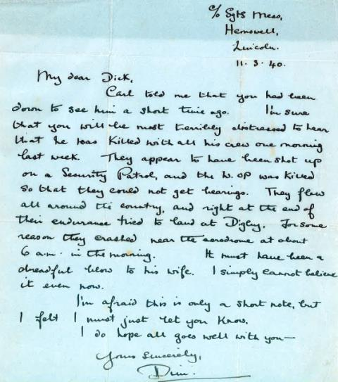 click for full-size image of letter relating to 61 Sqn Hampden crash Handley Page Hampden Mk1 bomber, number L4111, piloted by Fg Off (P) Derek Clinkard